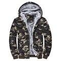 Hot new inverno 2016 de moda masculina versão Coreana mais grossa de veludo com capuz casuais conforto maré camuflagem zipper jacket M-4XL
