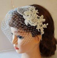 Bridal Birdcage veil, Blusher Veil, Headband Bridal headpiece Lace fascinator Diamonte Pearls