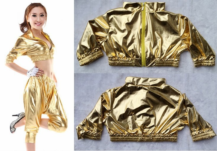 New Spring Fashion Glossy hip hop jazz Costumes Ultra-short Gold Tops Paillette  sexy women's clothing dance wear loose T-shirt