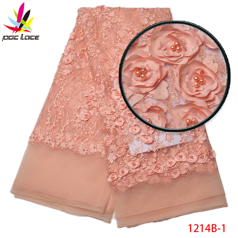 d7c9073ea917 Image 2017 Pretty flower lace fabric with beads embroidery french tulle  lace fabric 3D lace applique