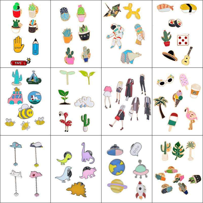 Urijk Drop Oil Brooches Cartoon Metal Badges Icons on Backpack Kawaii Pin Animal Plant Collar Badges for Clothing DIY(China)