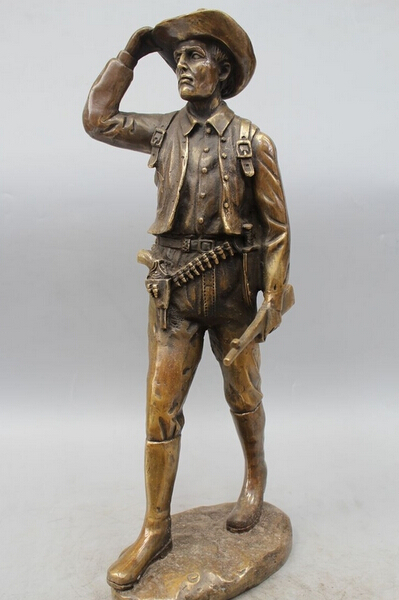 Details About 19 Western Art Bronze Statue Famous Of Hunter Hunt Men Statue Dick And Cowboy R0715