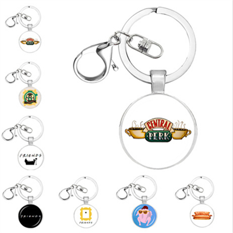 New TV Friends keychain Central Perk Coffee Time glass figure keyring Key chains Pendants Christmas charm gift fashion jewelry все цены