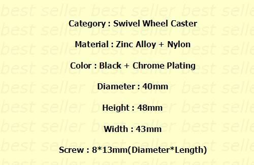 """4x1,5"""" карабин из цинкового сплава ролик-колесо подшипник ступицы колеса"""