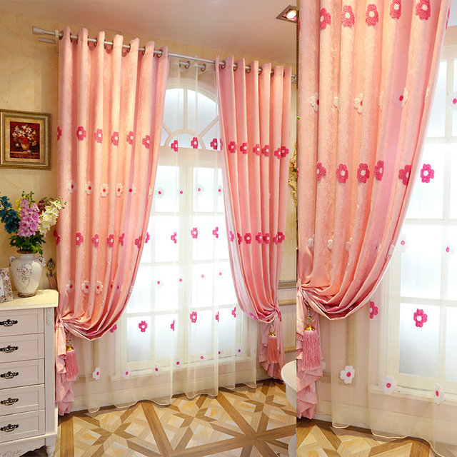 High quality shade bedroom curtains complete with chenille fabric in high quality shade bedroom curtains complete with chenille fabric in the living room with pink flower mightylinksfo
