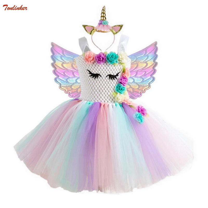tonlinker Rainbow Pony Tutu Dress with Hair Band Princess Girls Party Children Kids