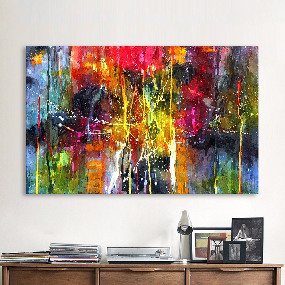 QKART Abstract Painting Colorful Canvas Wall Pictures For Living Room Office Bedroom  Modern Canvas Oil Painting