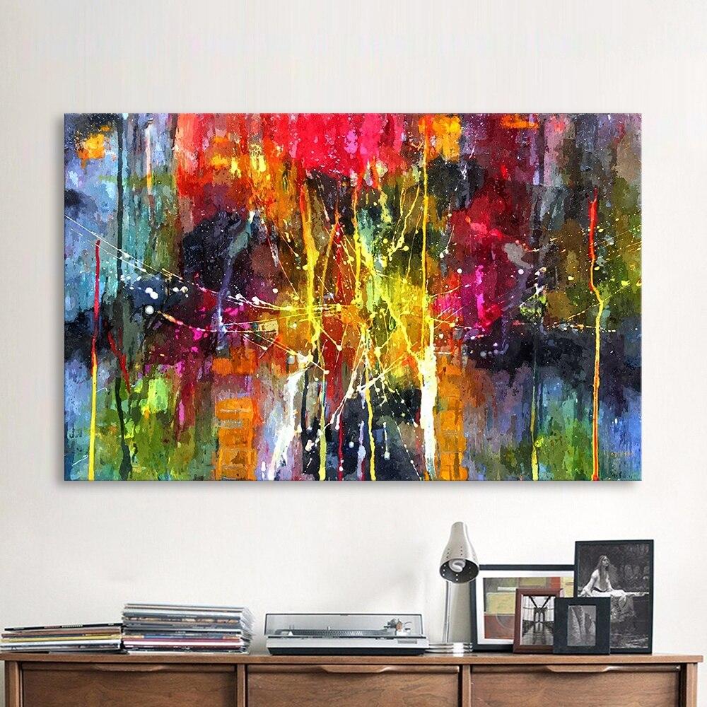 Qkart Abstrakte Malerei Bunte Leinwand Wand Bilder Fur Wohnzimmer Buro Schlafzimmer Moderne Leinwand Ol Malerei