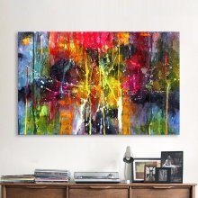 QKART Abstract Painting Colorful Canvas Wall Pictures for Living Room Office Bedroom Modern Canvas Oil Painting(China)