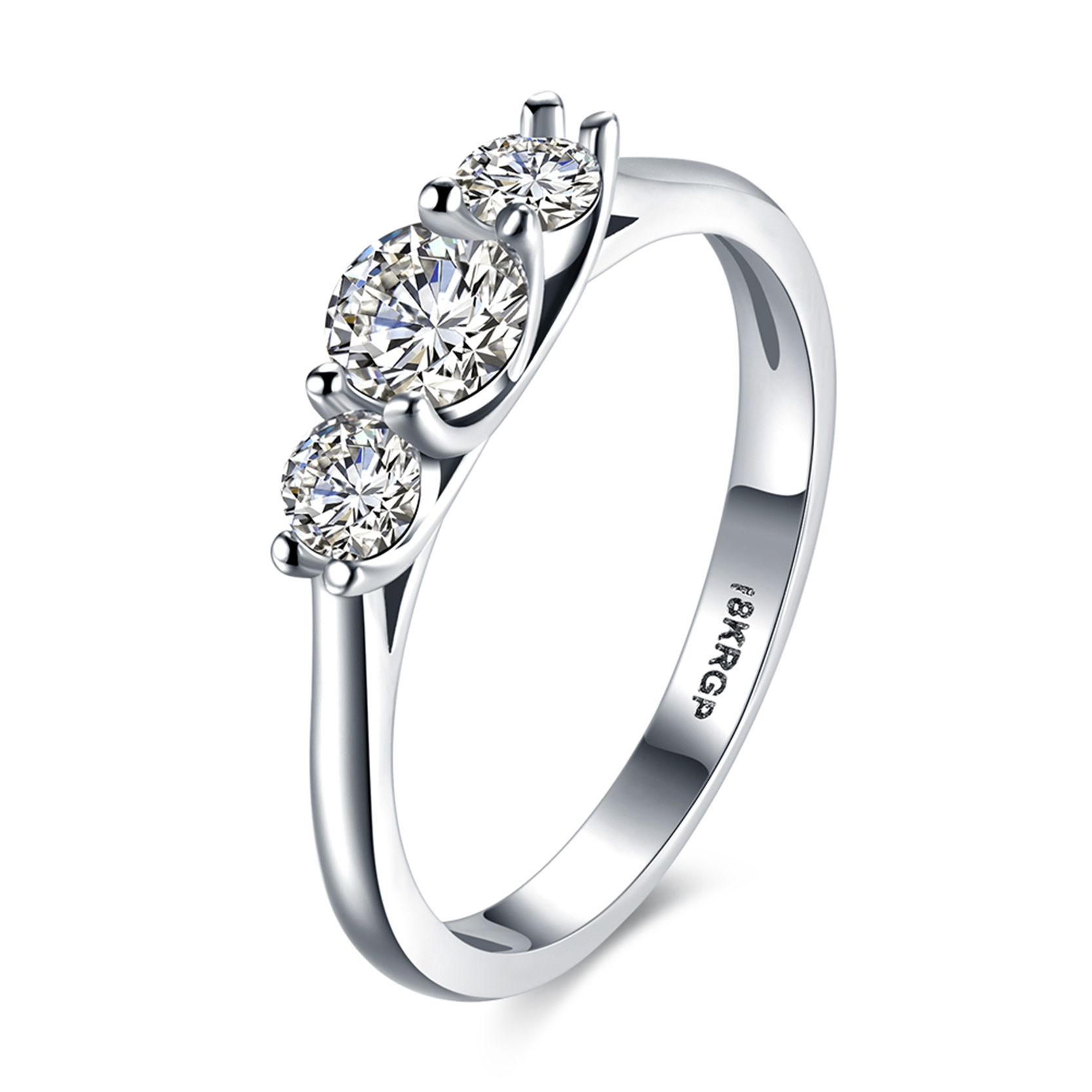Drole Fashion Silver Ring Wedding Rings Jewelry Cz Zircon 3 Stone Engagement  Rings For Women(