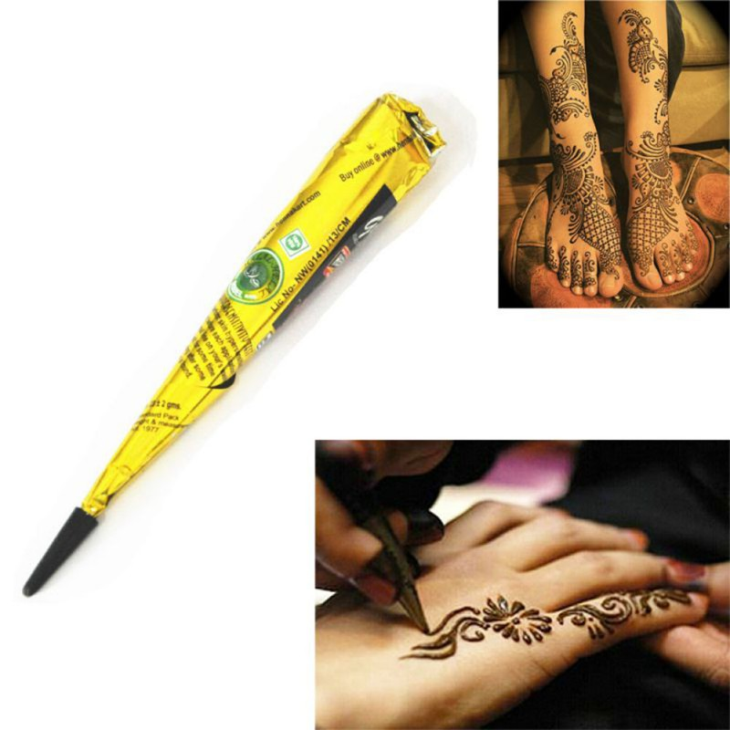 Indian Henna Paste Cone Beauty Women Mehndi Finger Body Cream Paint DIY Temporary Drawing for Tattoo Stencil 1pcs