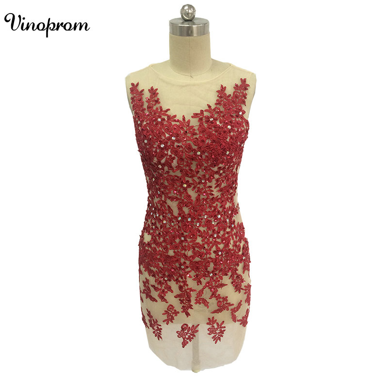 2017 New Sexy Red Sequined Appliqued Lace Mini   Cocktail     Dresses   Elegant Cap Sleeves Short Party Homecoming Prom   Dresses   Special