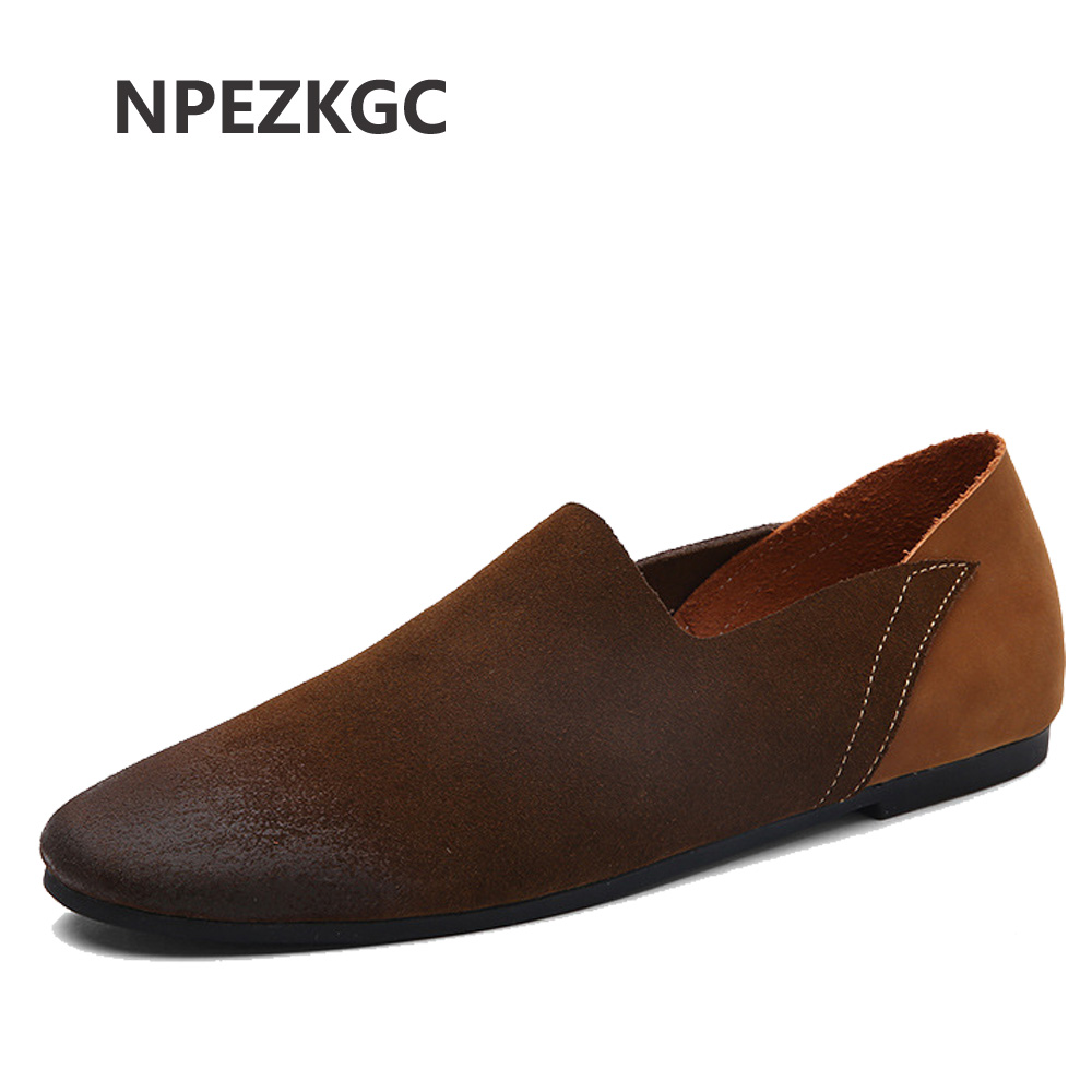 NPEZKGC Comfortable Soft   Suede   Men Loafers Cow Genuine   Leather   Fashion Brand Mens Flats Driving Shoes Plus Size 45 46 47