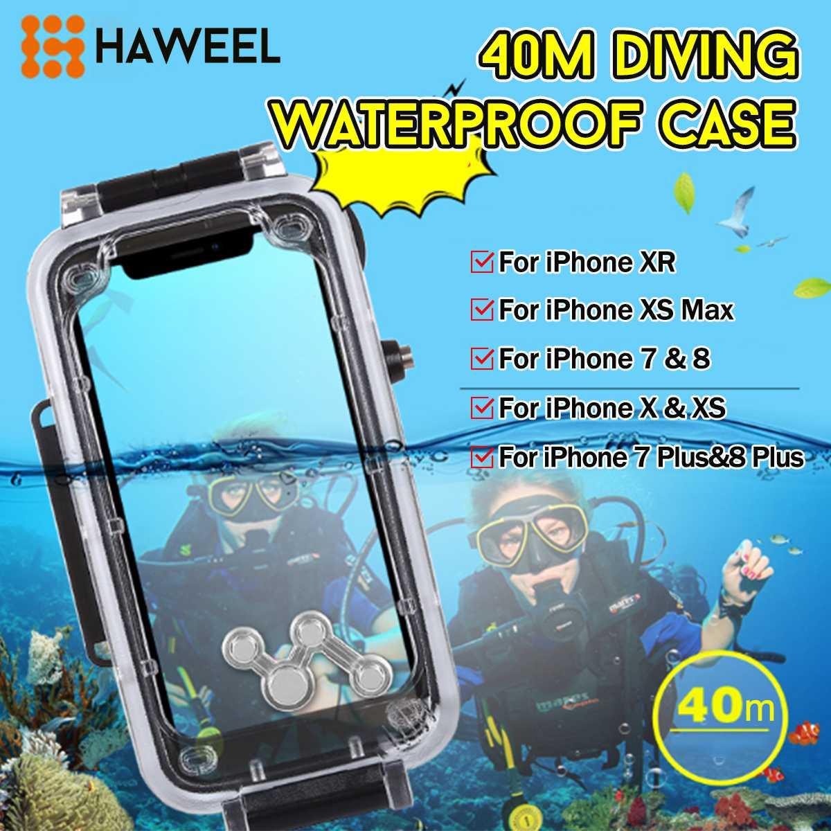 HAWEE pour iPhone 7/8/7 8plus/X/XS/XS Max/XR 40 m plongée sous-marine téléphone étui de protection surf plongée en apnée Photo vidéo prise