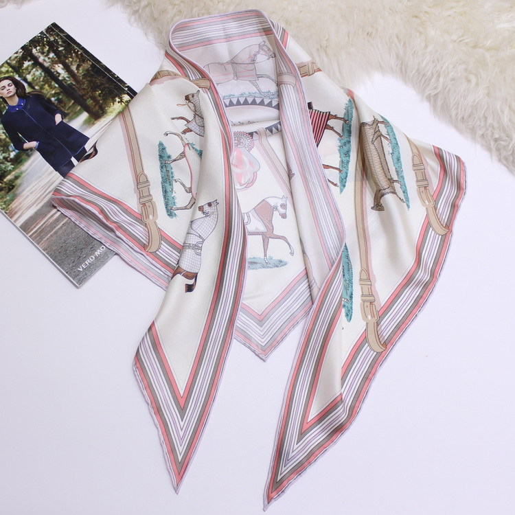 Horse Scarf Triangle Scarf for Women Neck Head Bag Hat Ribbon Luxury Brand Designer Multifunctional Scarf 135 85cm in Women 39 s Scarves from Apparel Accessories