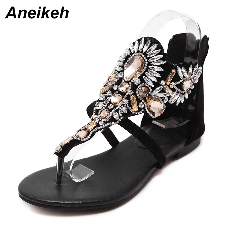 Aneikeh Rhinestone Luxury Diamond Roma Women Sandal Designer Brand High Quality Buckle Strap Female Flat Sandals Size 35-40