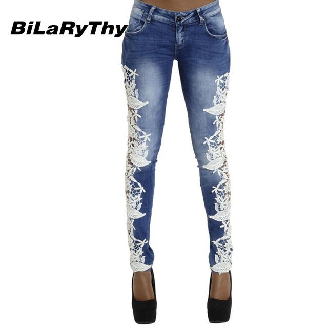 BiLaRyThy Mulheres Do Vintage Calça Jeans de Cintura Baixa Renda Patchwork Denim Algodão Elástico Calça Casual Calças Justas Calças Lápis
