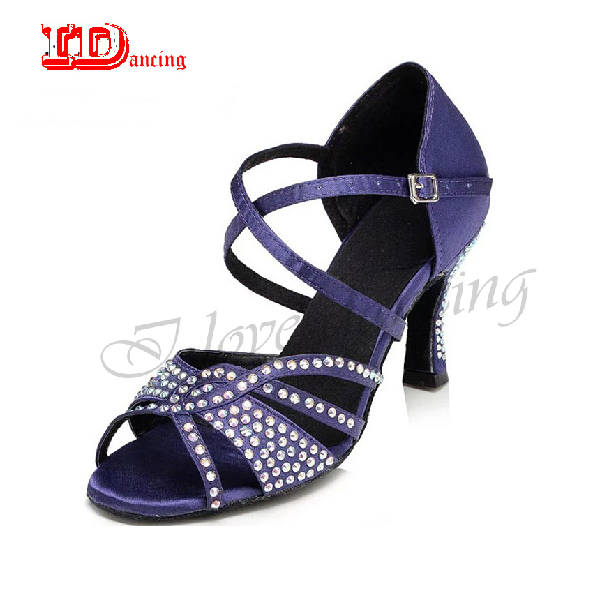 Girls Dancing Shoes Women 8.5cm Rhinestone Soft Sole Purple Salsa Ballroom Latin Dance Shoes For Ladies New Arrival JuseDanc