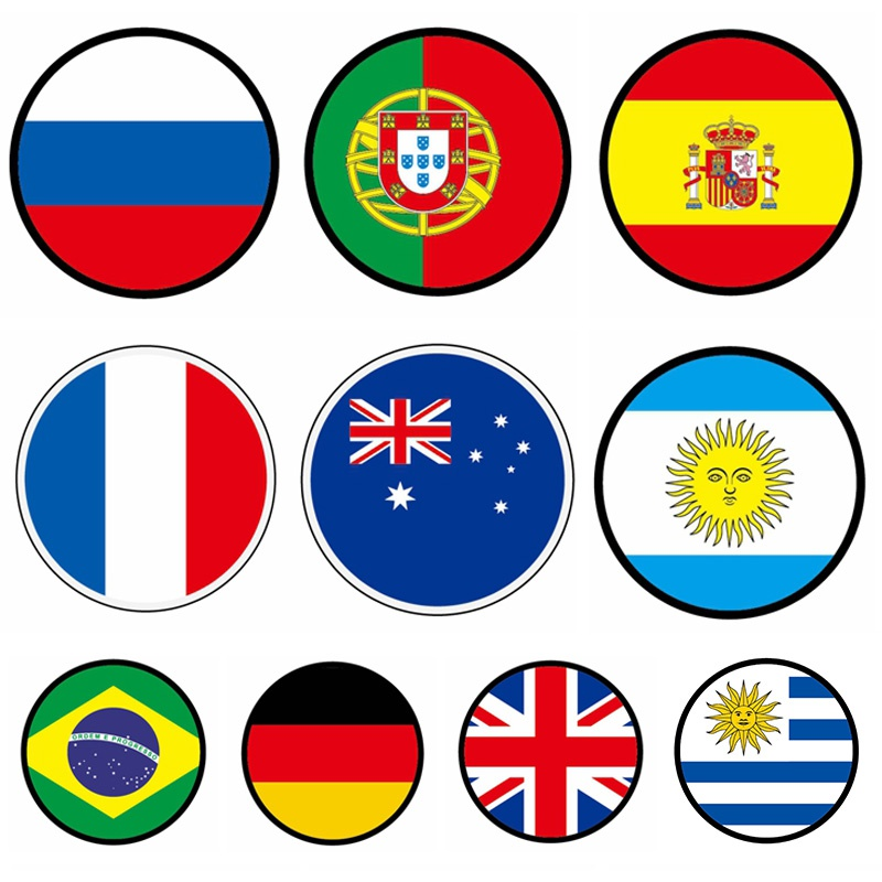 World Cup Pvc Soft Glue Badge National Flag Badge Safety Pin Brooch Apparel Badge