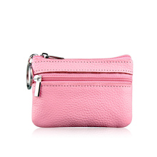 Fashion Zipper Coin Purse Genuine Cow Leather Case Women Coin Pocket Colorful Card Holder Money Bag RFID Wallets