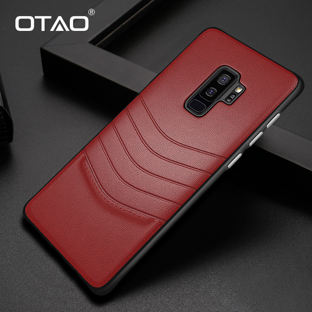OTAO Leather Shockproof Case For Samsung Galaxy S9 S8 S10 Plus S10E Note 9 8 Cover Soft Edge Case Solid Color Hard PC Cover Case