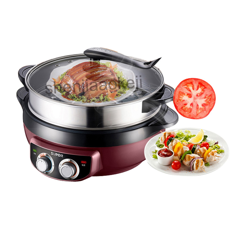 JJ34D02 Multifunctional Home Electric Cooker Wok 6L Korean-Style Non-stick Frying Machine Food Steamer Hot Pot 220v 1800w 1pcJJ34D02 Multifunctional Home Electric Cooker Wok 6L Korean-Style Non-stick Frying Machine Food Steamer Hot Pot 220v 1800w 1pc