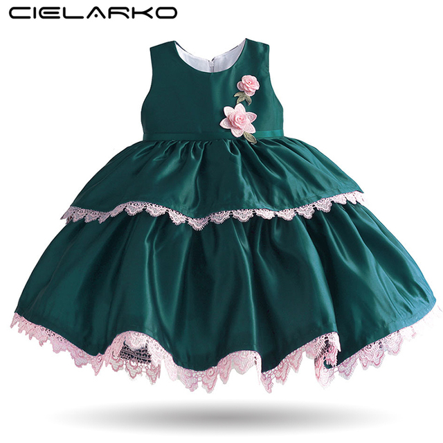 7b6c9e35234 Cielarko Girls Party Dress Elegant Lace Flower Kids Formal Birthday Dresses  Sleeveless Children Clothing for Girls