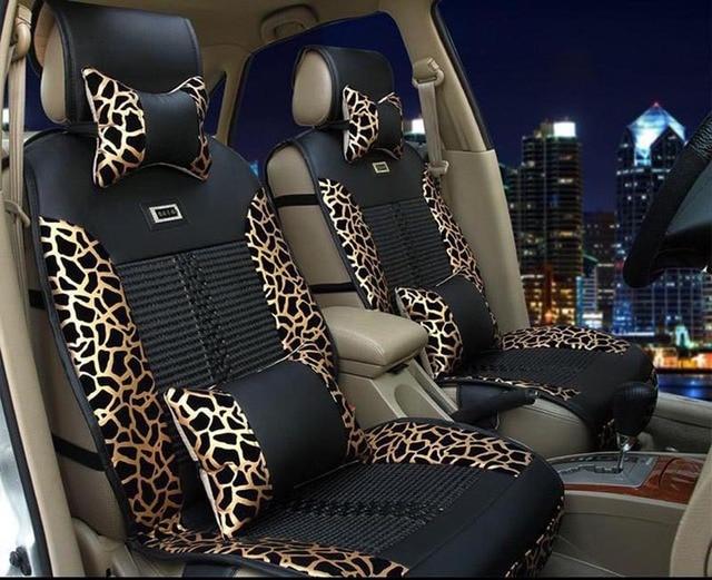 four season sice silk super cool luxury pu leather leopard universal car seat cover universal 5. Black Bedroom Furniture Sets. Home Design Ideas