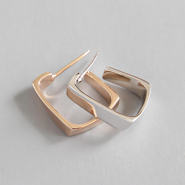 Real 925 sterling silver geometric square stud earrings for women jewellery, gold color earings fashion boucle d'oreille femme
