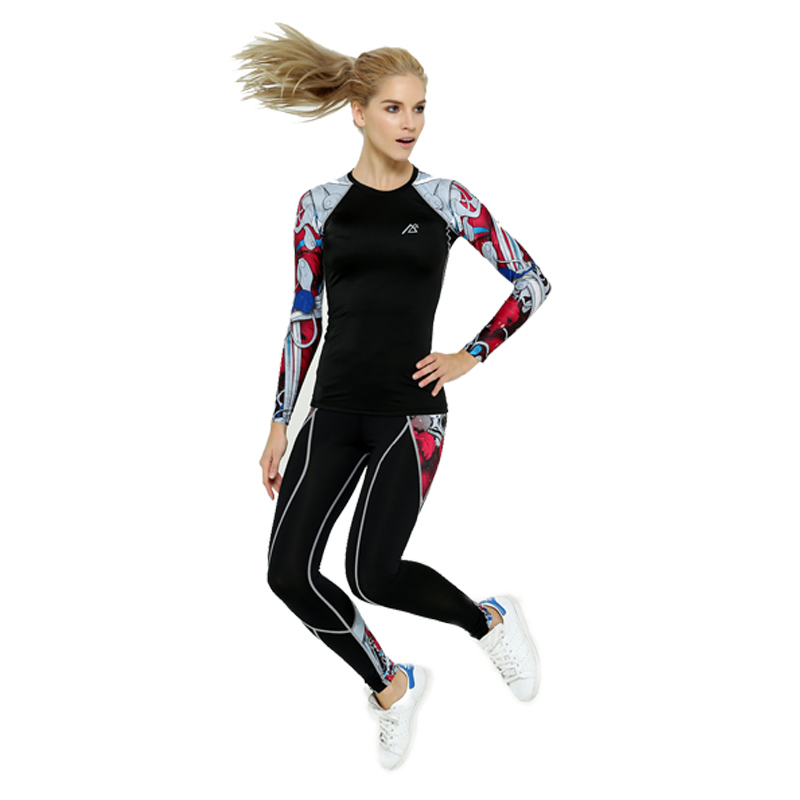 2016 Life on Track New Womens Yoga sets Compression pants and high elastic compression shirt for sports Workout Athletic Fitnes