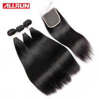 ALLRUN Peruvian Straight Hair Bundles 1PCS 100 Natural Color Non Remy Straight Human Hair Weaving