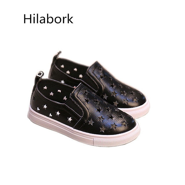 Leather shoes boys and girls 2017 spring new children's shoes fashion stars leather pedal male and female children shoes K815