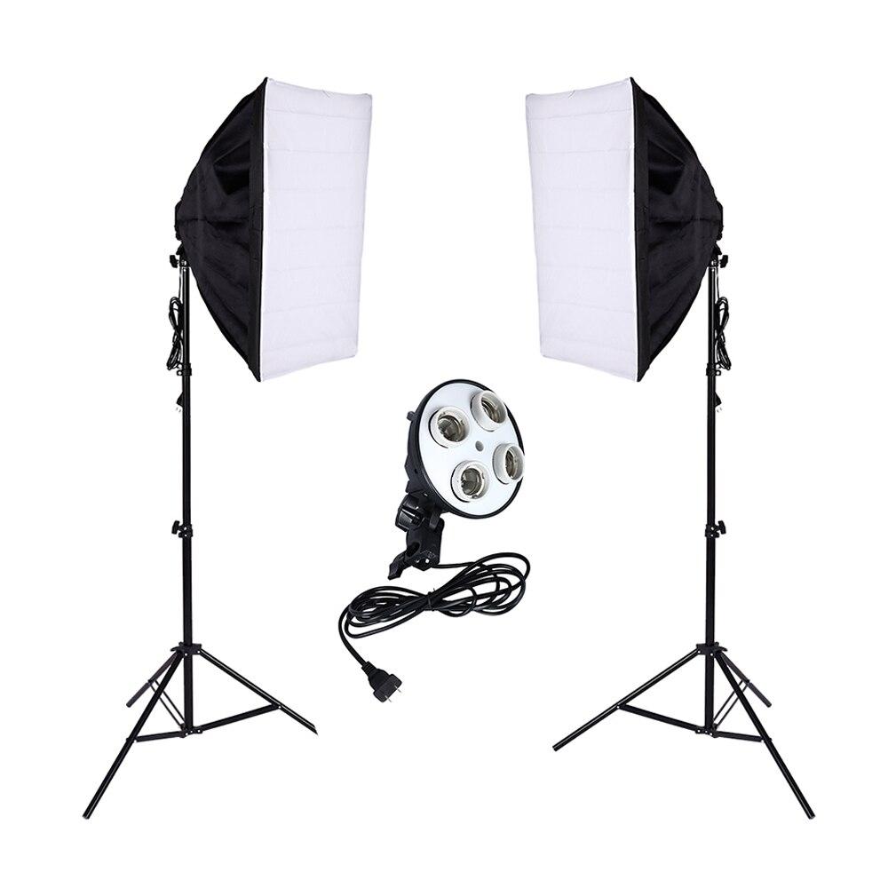 2 PCS Photo Studio Diffuser 100 240v Softbox 4 Lamp Holder Socket With 50 70cm Continuous