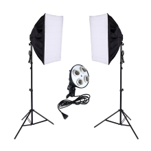 Photo Studio Kit Photography Lighting 4 Socket Lamp Holder + 50*70CM Softbox +2m Light Stand Photo Soft Box 50 70cm continuous lighting softbox 4 lamp holder cross bar double pulley horizontal arm photography kit 45w 5500k bulbs 4pcs