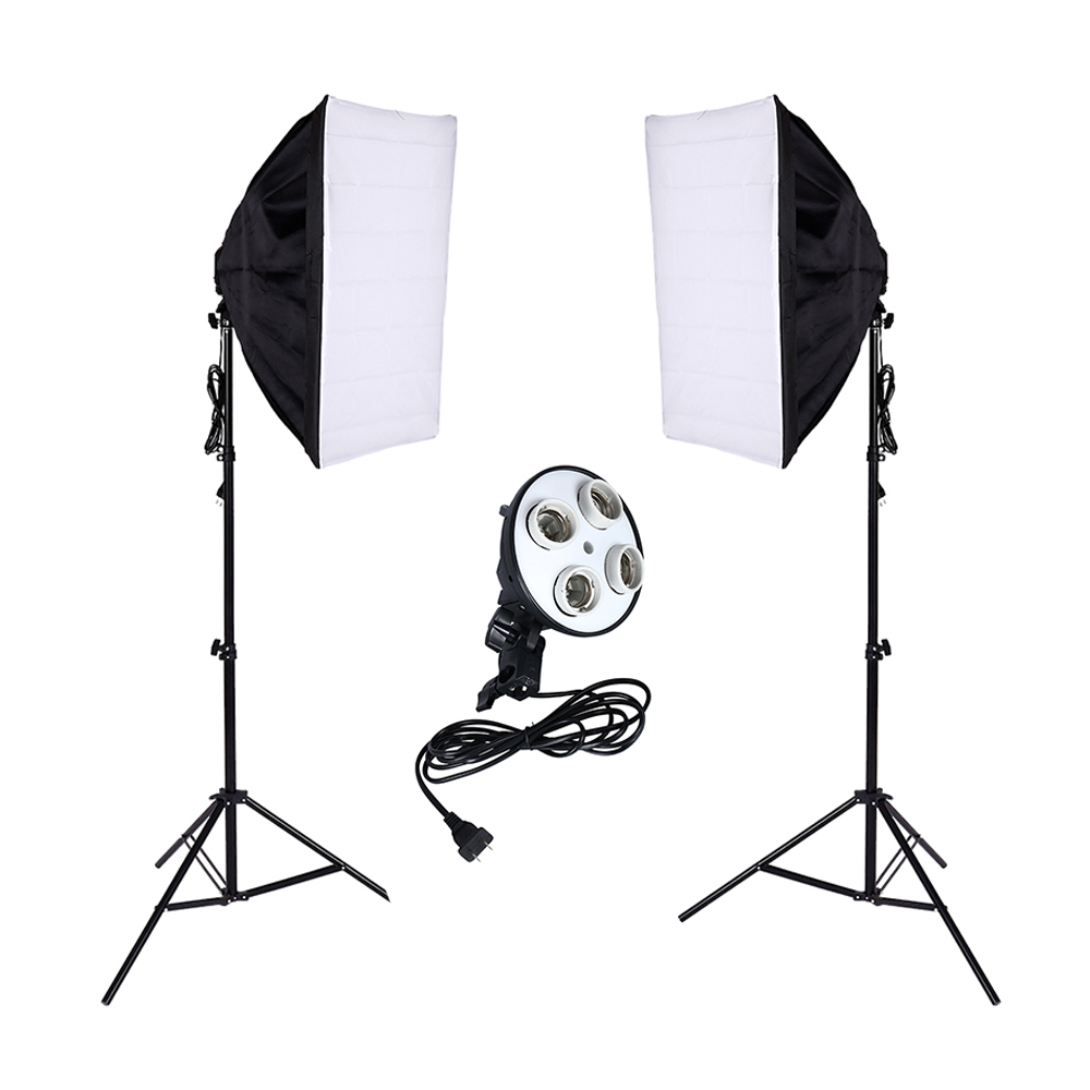 2 PCS Photo Studio Diffuser 100 240v Softbox 4 Lamp Holder Socket With 50*70cm Continuous Lighting include Light Stand