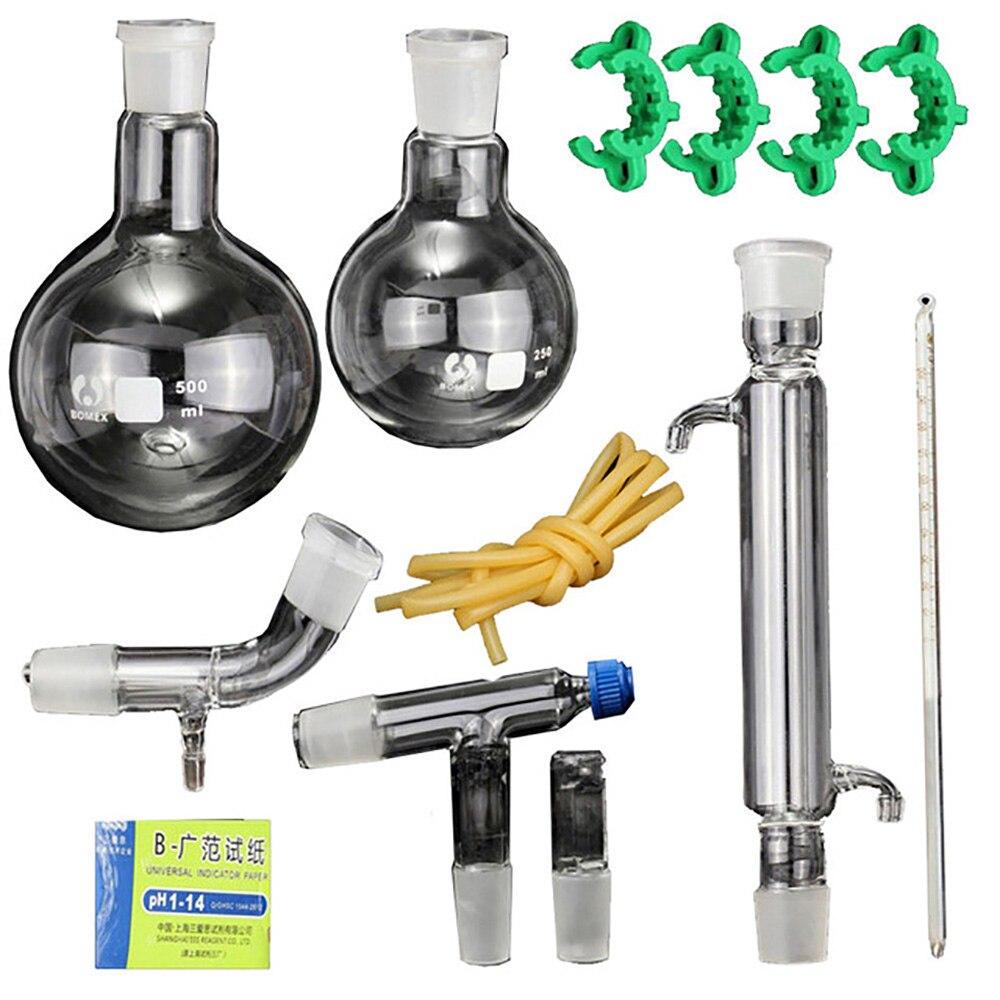 Nouveau 12 pièces laboratoire huile essentielle Distillation à la vapeur organique chimie appareil verrerie Kit eau distillateur purificateur w/24/40 Joint