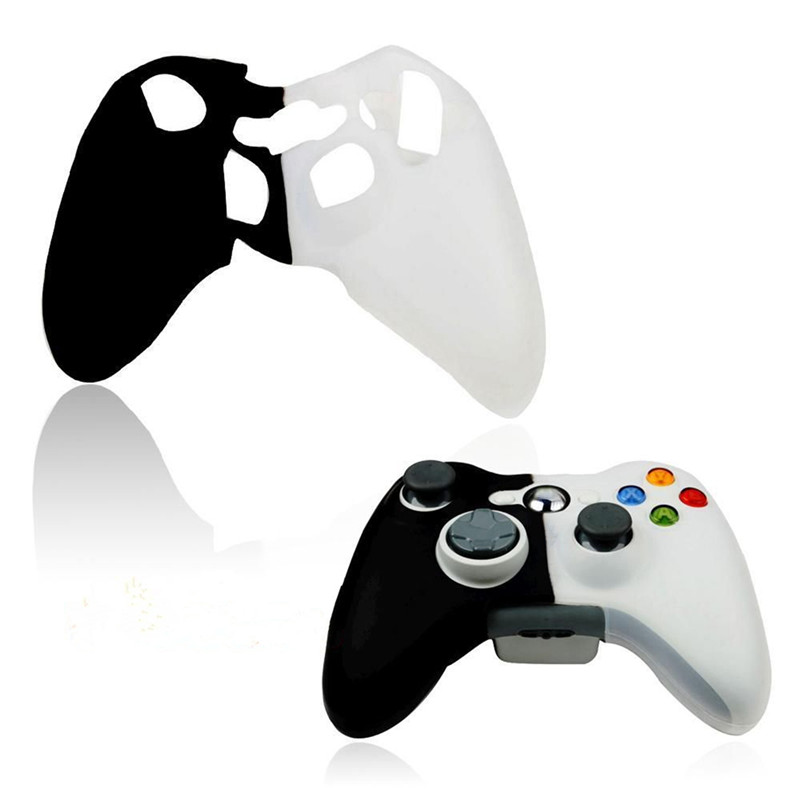 New Fashion Design Silicone Cover Joystick Gel Skin Soft Protective Case for XBOX 360 Controller Gamepad Black-White Color