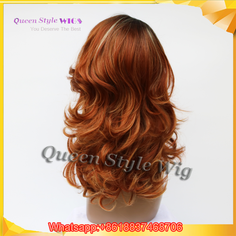 Hot Body Loose Wave Black Roots Red Brown Color Highlight Blonde