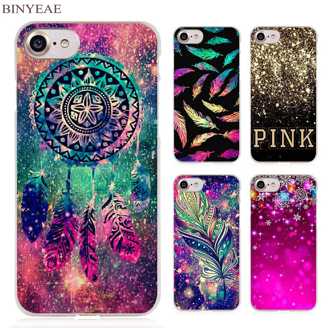 binyeae dream catcher feather stars christmas colorful clear cell phone case cover for apple iphone 4