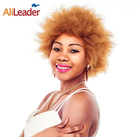AliLeader Products Kinky Straight Synthetic Hair Afro Wig Blonde Short Hair Wigs For Black Women, #1B #2 #4 #27 #30 Available
