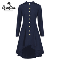 AZULINA Jacket Women 2017 High Low Plus Size Hooded Lace Up Coat Female Solid Color Slim