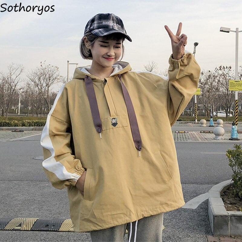 Jackets   Women Loose Leisure Hooded Printed Pockets Batwing Sleeve Thin Coats Womens Korean Harajuku BF Students   Basic     Jacket