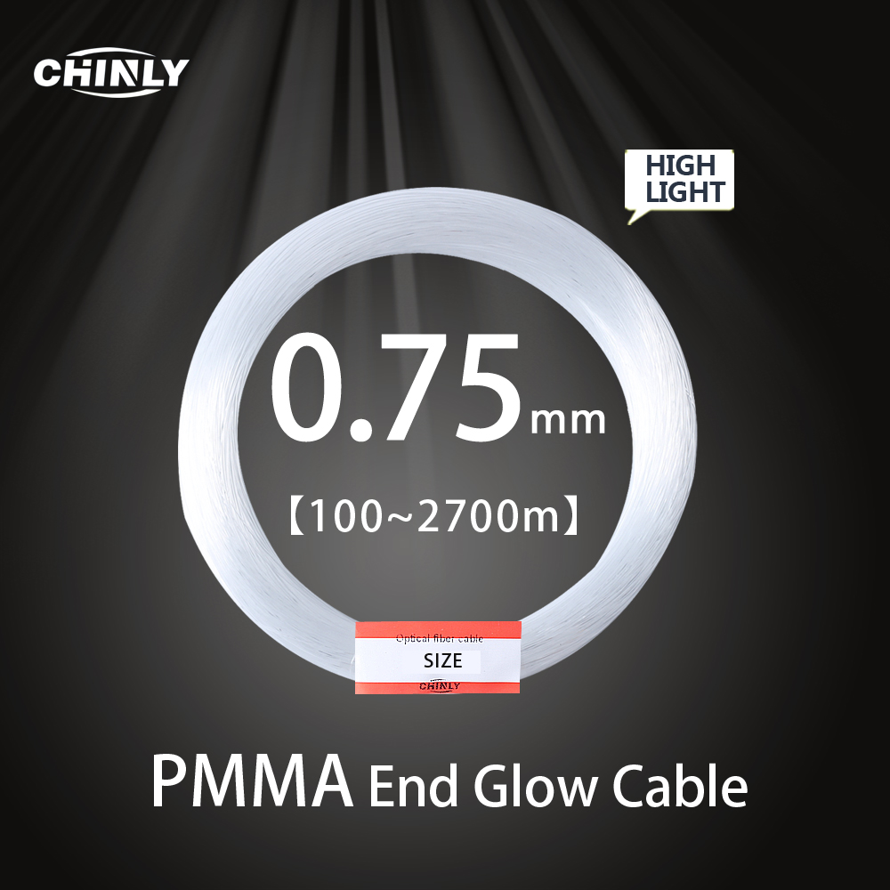 End Glow 0.75mm Fiber Optic PMMA Plastic Cable For All Kinds Led Light Engine Driver Machine DIY Ceiling Starry Sky Lights