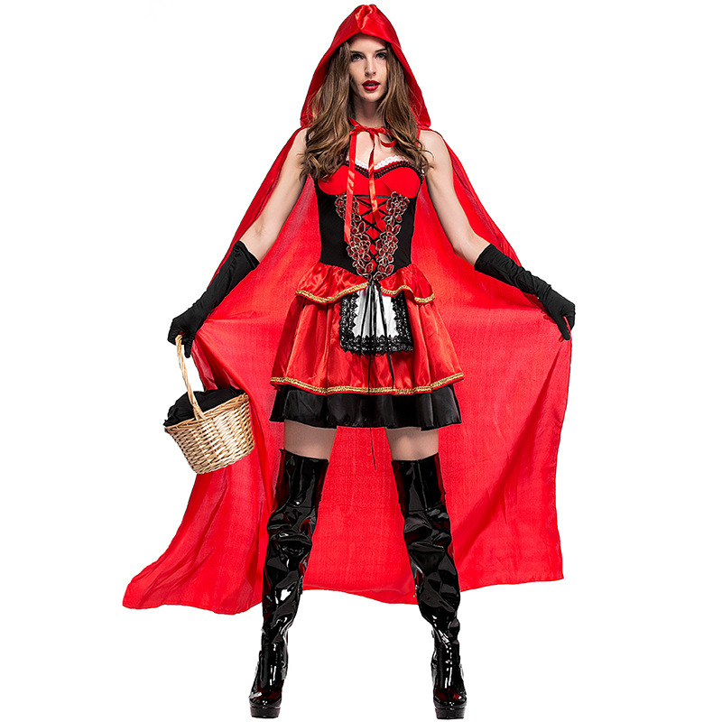 Umorden Halloween Purim Carnival Party Little Red Riding Hood Costumes for Women Fancy Fairy Tale Costume Cosplay Long Dresses