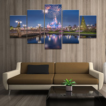 Home Decor Poster Pictures Prints Canvas 5 Piece Modular Disney Castle Fireworks Scenery Living Room Decorative Painting Framed(China)