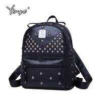 YBYT Brand 2017 New PU Leather Rivet Women Bags Rucksack Vintage Casual Female Shopping Bag Ladies
