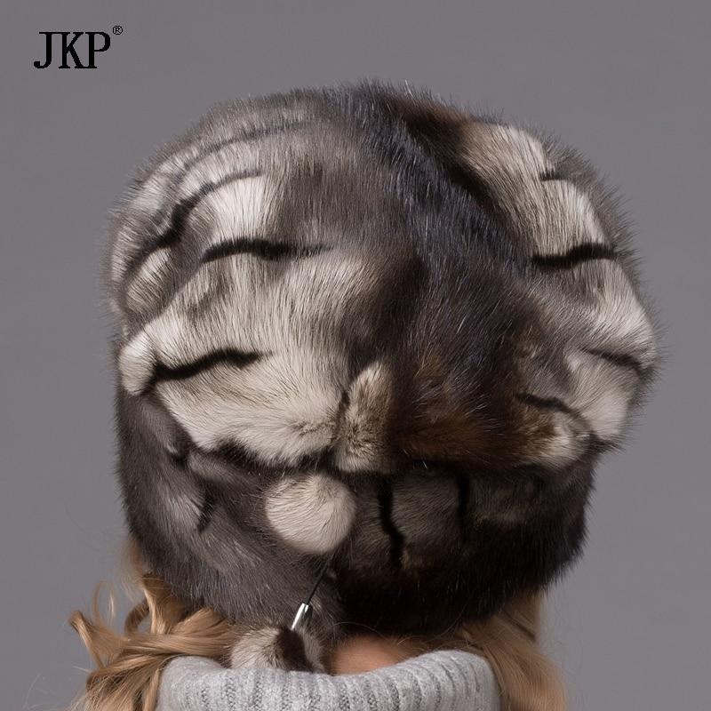 Genuine Winter Mink Fur Hat cap women clothing Fur Warm Fashion Cap Hats Headgear