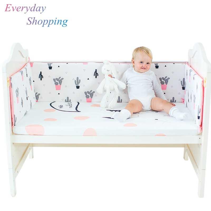63e542ac2297 Детское постельное белье Бамперы дышащий протектор хлопок детская кровать  набор мягкий принт новорожденная кроватка играть сон