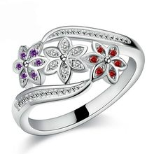 Giemi S90 Silver Color Ring Wedding Lady Jewelry Funny Design Three Color CZ Crystal Flower Ring Women Girls Fashion(China)