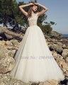 Fabuloso Tule de Organza O-pescoço vestido de Baile Vestido de Noiva Sem Mangas Apliques de Renda Elegante Vestido de Noiva Vestido De Noiva